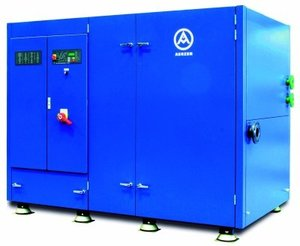 Delta Twin unit made by Aerzener Maschinenfabrik with two oil-free screw compressor units with a volume flow of each 1125 m3/h, driven by two 132 kW-motors