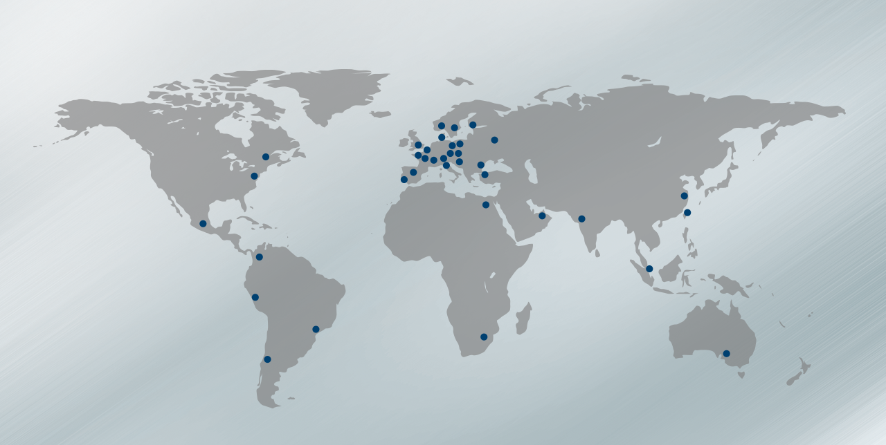 Map of the AERZEN service centres around the world