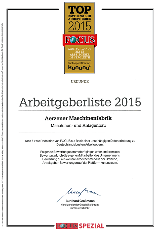 Certificate of the Top National Employers 2015