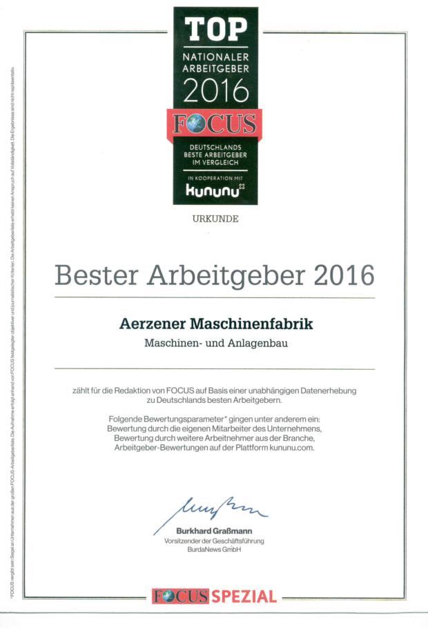 Unsere Auszeichnungen als Arbeitgeber - AERZEN