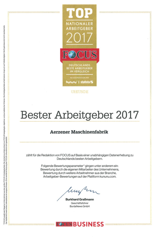 Certificate of the Top National Employers 2017