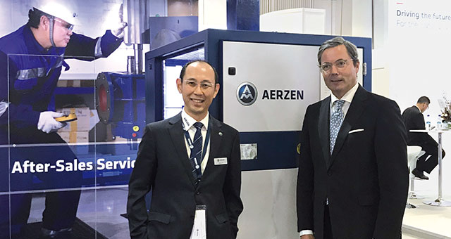Chuck Lim and Dr. Ulrich A. Sant at the AERZEN stand at the Singapore International