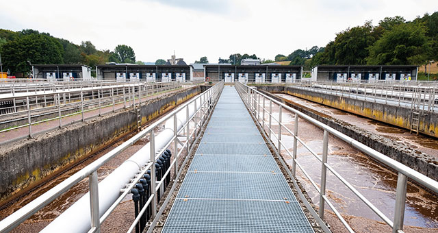 Picture of the Central bridge the Aachen-Soers wastewater treatment plant
